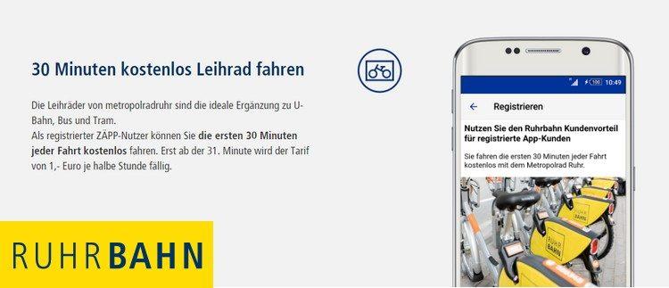 Ruhrbahn App Leihrad kostenlos
