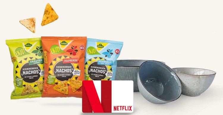 Nachos, Netflix-Gutschein + Schüsseln