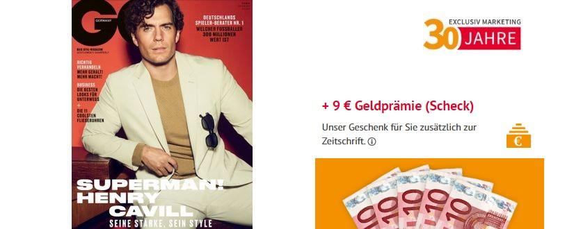 GQ Magazin + Verrechnungsscheck