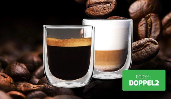 2 Doppelwandige Kaffeegläser