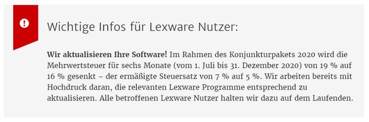 Lexware Update zur MWST-Senkung