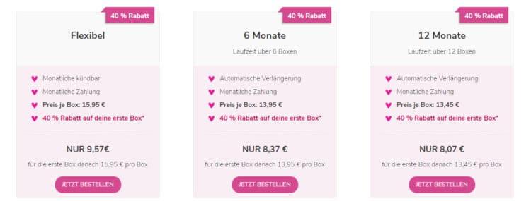 Abo-Preise für Pink Box