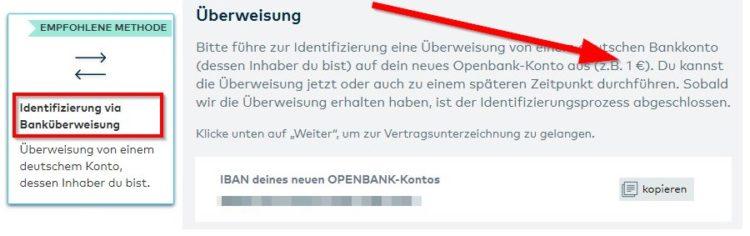 Legitimation bei der Openbank