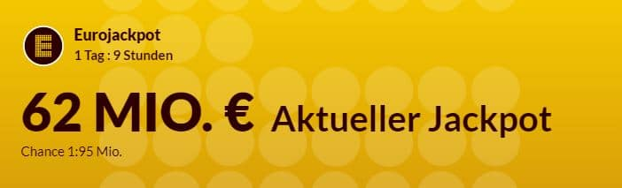 62 Mio € im Eurojackpot