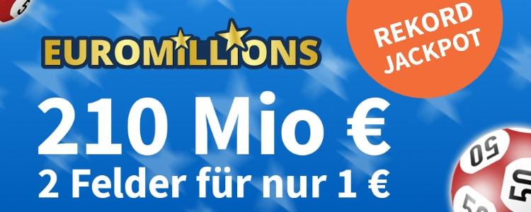 210 Mio € bei EuroMillions gewinnen
