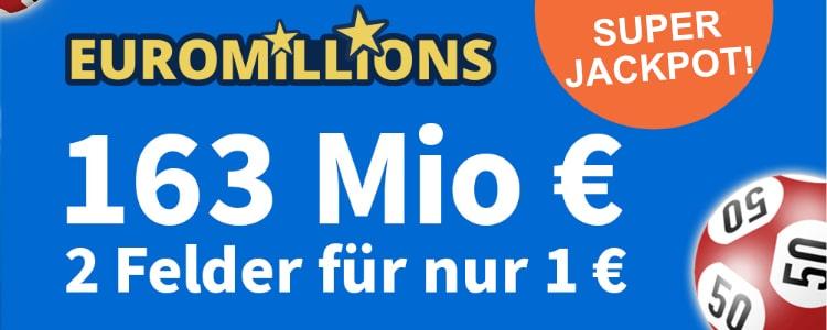 163 Mio im EuroMillions Jackpot